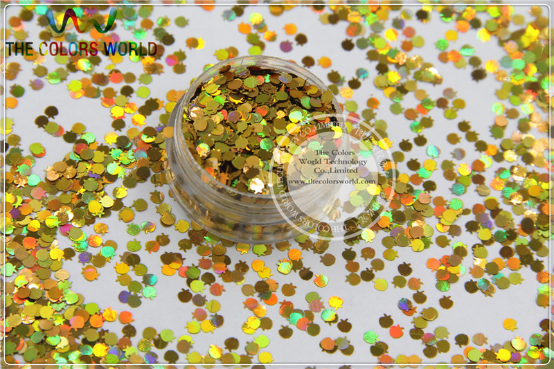 Apple Shape Glitter Size 3 mm laser holographic Gold  color paillette  for Nail Art  and DIY supplies1pack=50g tcf510 solvent resistant neon rose carmine color mickey mouse shape spangles for nail polish and other diy decoration1pack 50g