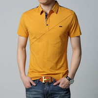 Mens T Shirts Fashion 2016 5XL Summer T Shirt Geometric Design Turn Down Collar Short Sleeve