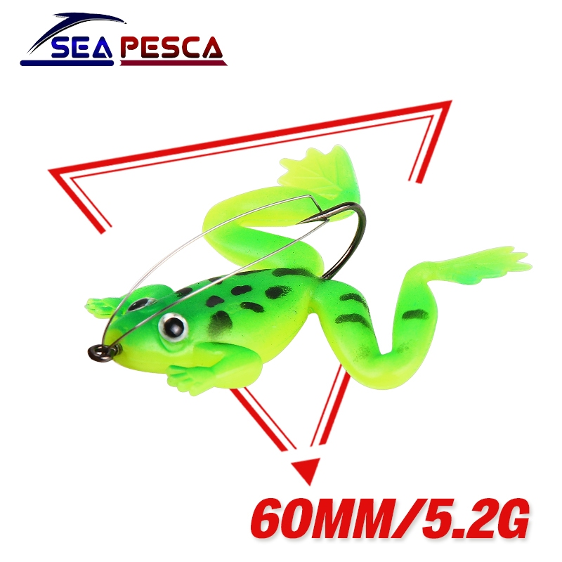 все цены на SEAPESCA 4Pcs/lot Frog Soft Bait Fishing Lures 60mm 5.2g Plastic Frog Fish with Hook Crankbait Topwater Fishing Bait JK164 онлайн