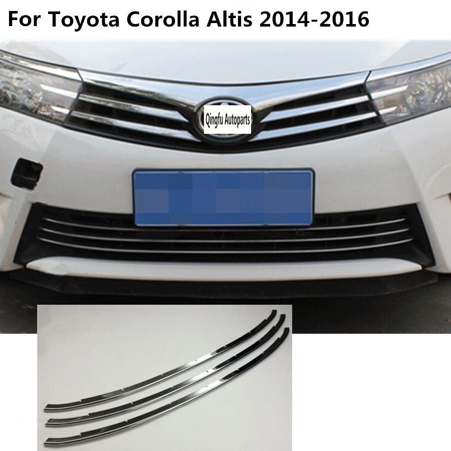 For toyota corolla altis 2014 2015 2016 car body styling protection stainless steel trim front up grid grill grille panel 3pcs