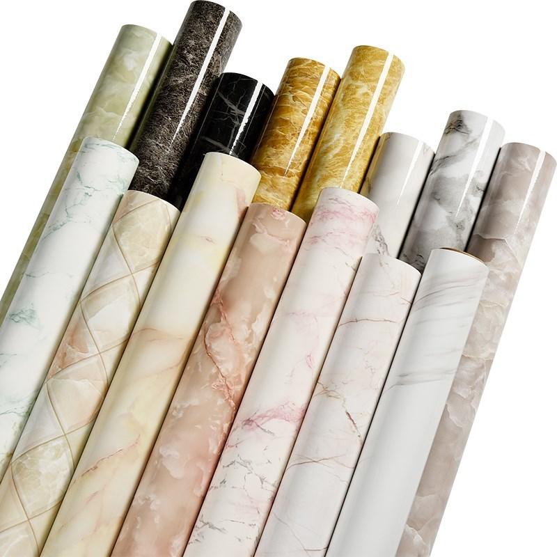 Vinyl Waterproof Pvc Wallpaper Imitation Marble Pattern  Stickers Self Adhesive Wallpaper Renovation Furniture Bathroom Cabinet