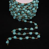 5Meter,8x10mm Size,Blue Turquoises Skull Link Brass Wire Wrapped Chain,Turquoises beads Rosary Chains Woman sweater chains