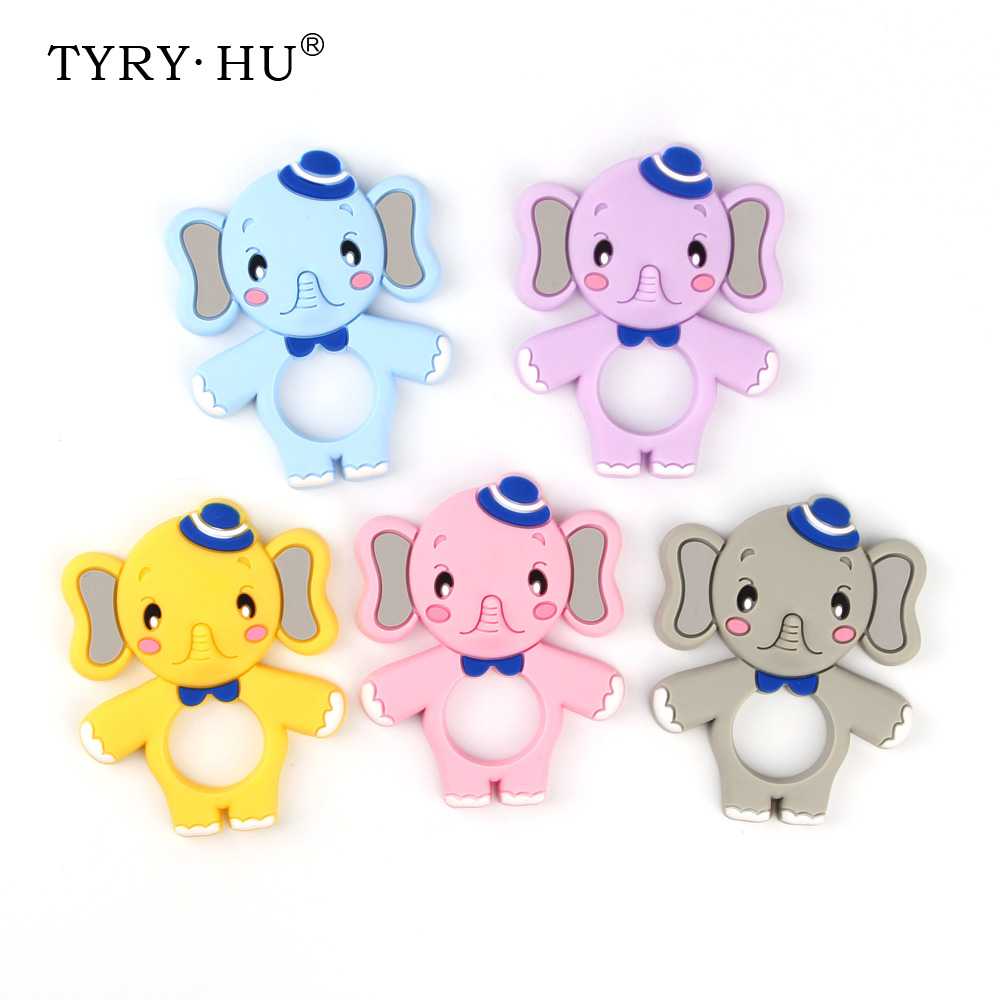 TYRY.HU 1pcs Elephant Silicone Teether Baby Teething Necklace Pendants Cute Nursing Toys Food Grade Silicone Freeship