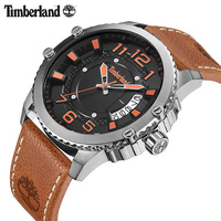 Timberland 2018 New Arrivals Quartz Watches Brown Calendar Rivet Stainless Steel Leather Luxury Brand Male Watch TBL.15329
