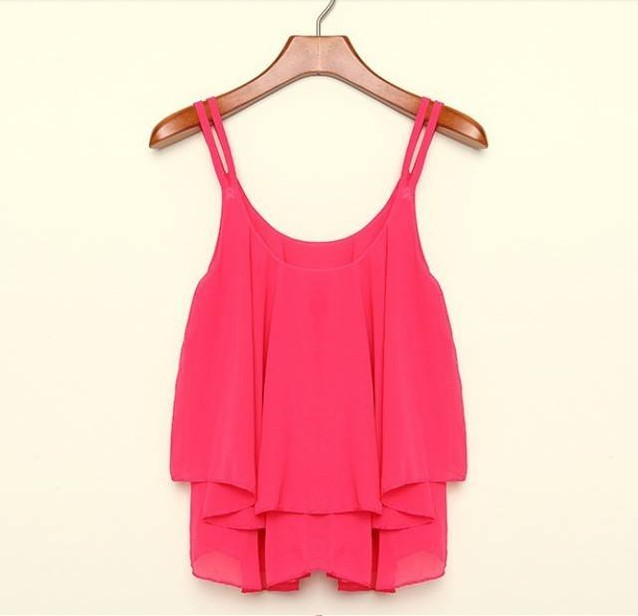 4 Colors 2015 Spring Summer Casual Shirts Sleeveless Spaghetti Strap Sexy Chiffon Women Blouses Vest Tops XL