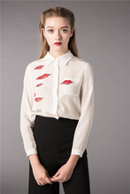 The spring of 2016 the new printed red lip long sleeve shirts Single-breasted cardigan female lapel high-end silk shirts