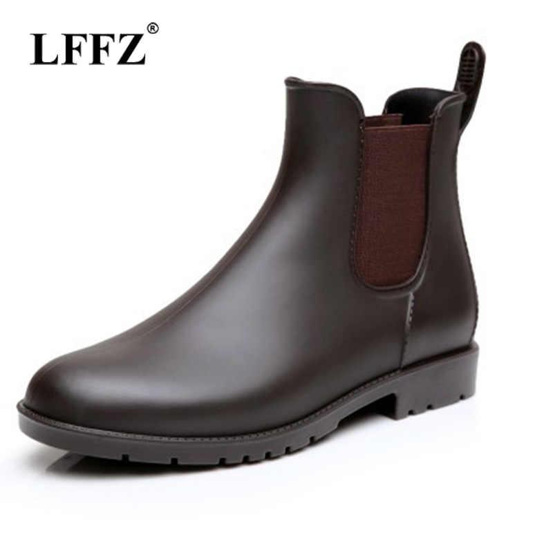 59e0f33de1d Lzzf 2018 Autumn Fashion Rubber Chelsea Rain Boots Unisex Women Shoes Ankle  Pvc Slip on Waterproof