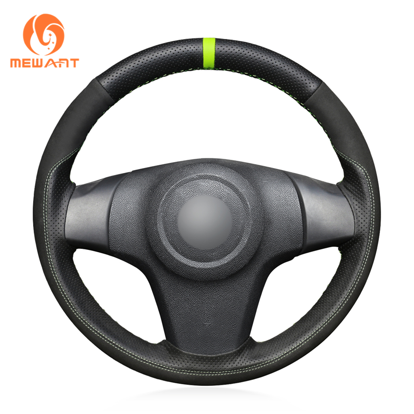 MEWANT Black Suede Genuine Leather Hand Sew Car Steering Wheel Cover for Chevrolet Niva 2009 2017