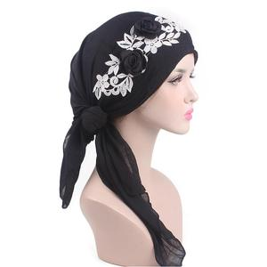 Image 5 - 8 個の女性イスラム教徒のヘッドスカーフ花化学及血帽子アラブイスラムターバン事前縛ら帽子バンダナがんキャップファッションランダムな色
