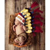 Newborn Baby Cute Indians Costume Photography Props Handmade Crochet Cotton Feather Hats Pants Set Infant Creative Photo Props