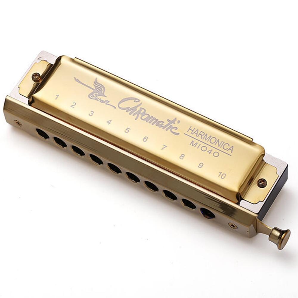 Swan Chromatic Harmonica 10 Holes Blues Harp Mouth Organ Key C Note Piano Types Harmonica Wood