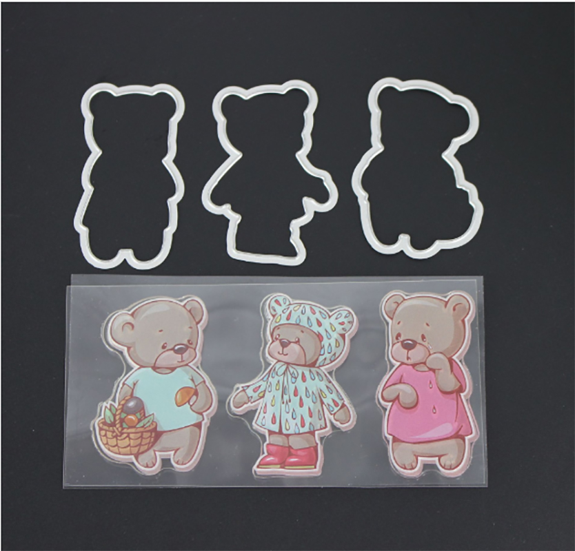 AZSG Wronged bear Clear Stamps Cutting Dies Set for DIY Scrapbooking/photo Album Decorative Craft