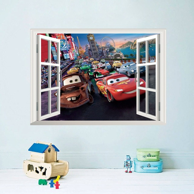 Movie cars wall stickers baby bed playroom decorating diy 3d cartoon fantasy window nursery mural art