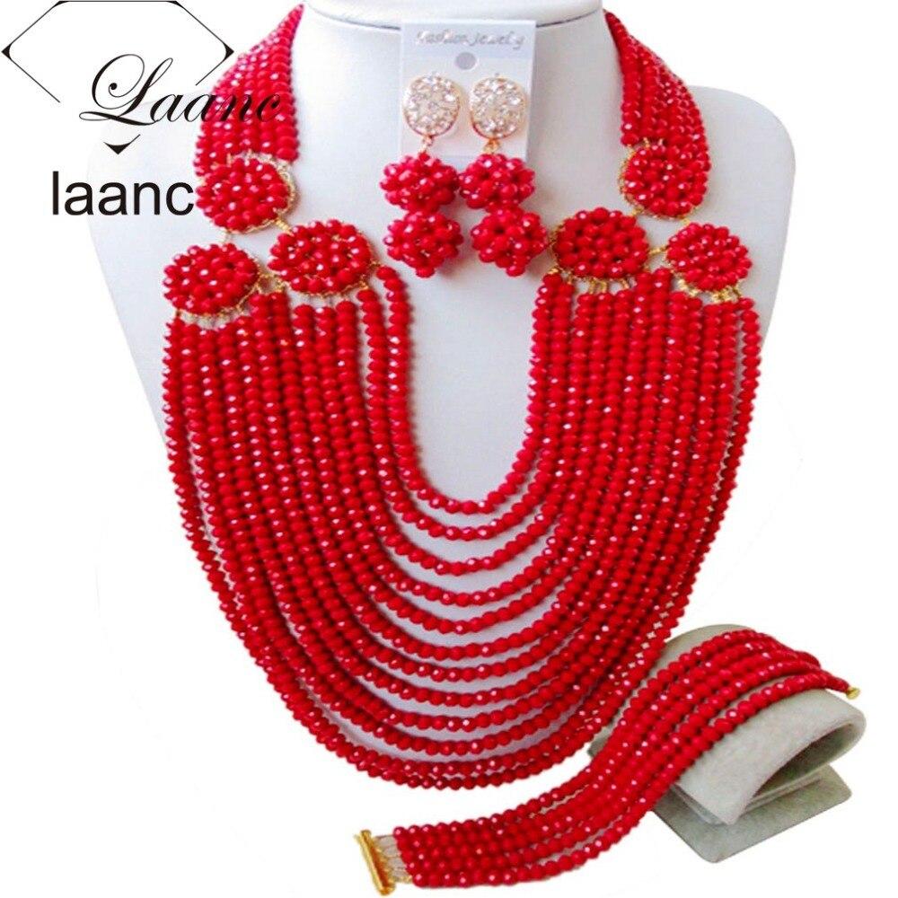 Ensemble de bijoux perles africaines cristal rouge AL114Ensemble de bijoux perles africaines cristal rouge AL114