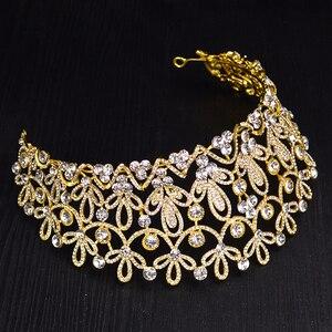 Image 5 - Ctrstal Tiaras grandes de cristal de lujo, Color dorado y plateado, diademas con diamantes de imitación, accesorios barrocas para el cabello de boda, HG 036