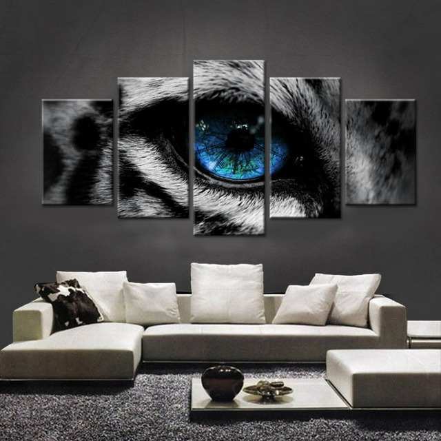 5 Pieces HD Printed Black Cat And Tiger Green Eyes Wall Art Painting Home Decorating