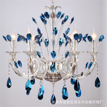 Creative zinc alloy candle light simple led crystal chandelier hotel clubhouse Mediterranean living room hanging lamps