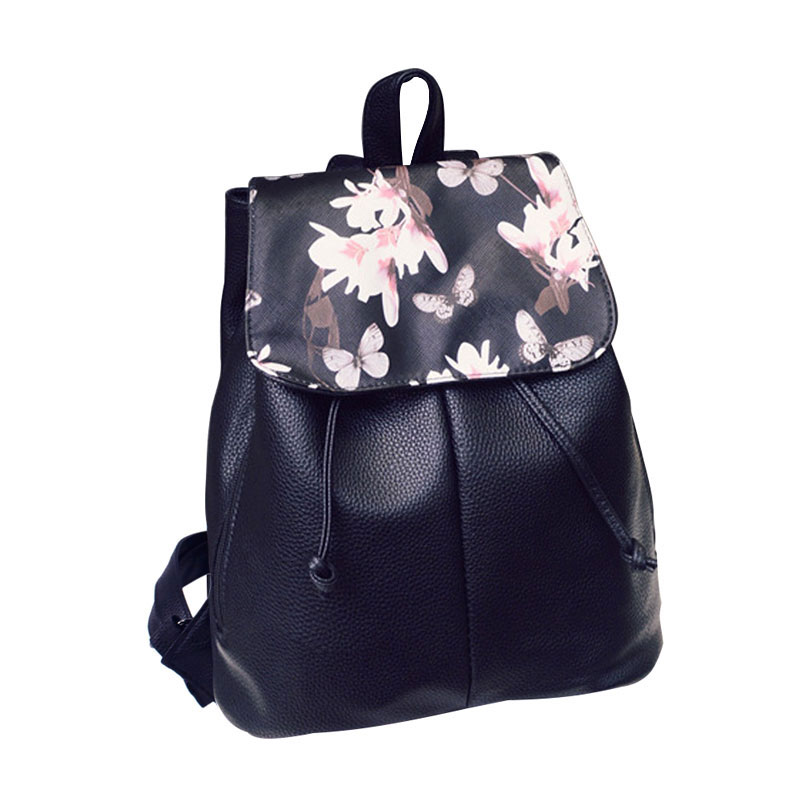 Summer Fresh Backpack Printing Bright Flower Style Fashion Causal Floral Backpacks Leather Backpack School Bag Women