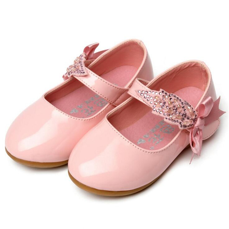 Children Princess Shoes Pink  Black White Band Soft Sole PU Leather Fashion  Bowknot Rhinestone Flower Girls Dress Dance Shoes-in Leather Shoes from  Mother ... b9e465617fd4