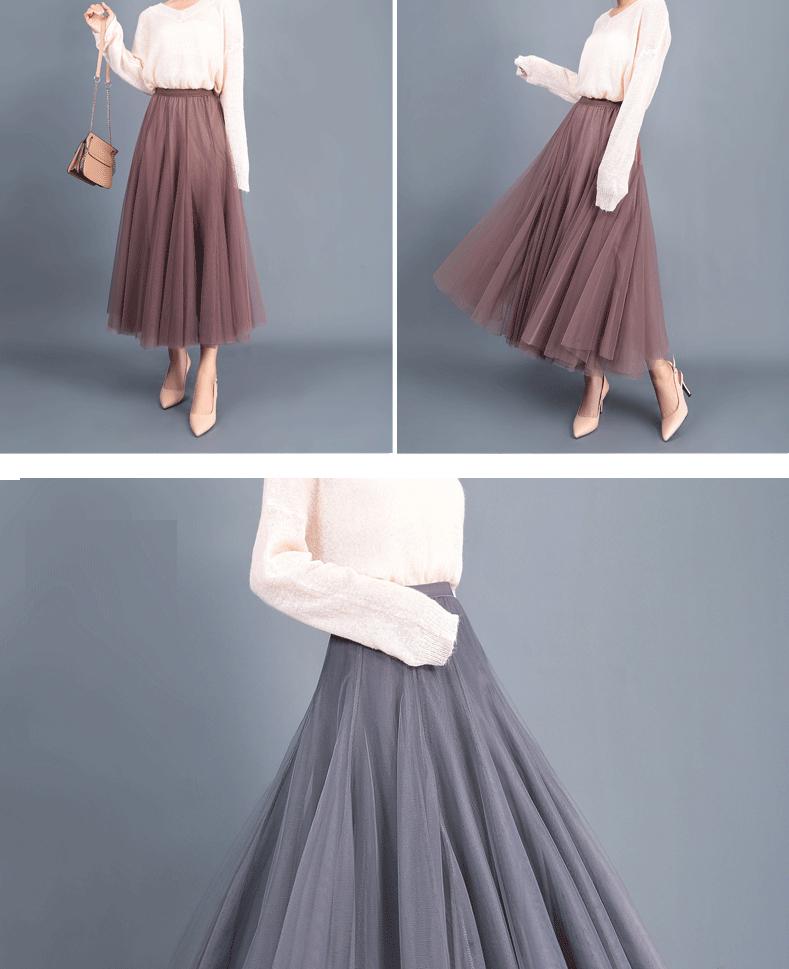 Jielur Autumn 3 Layers Princess Tulle Skirts Vintage Solid Color Mesh Women Skirt Pleated A-line Saia Female Jupe Tutu Skirts 12
