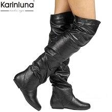 Женские Сапоги выше колена в стиле ретро; сезон осень-зима; сапоги из искусственной кожи; простая обувь на скрытом каблуке; женские сапоги; женская обувь; большой размер 48