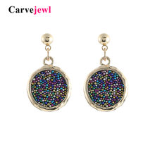 Carvejewl Gold Color round Ear Clips Earrings For Women Jewelry colorful seed beads Cuff Earring Without Piercing Druzy Earrings(China)