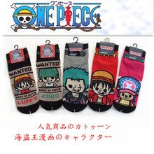 One piece cartoon cos Roronoa Zoro Luffy casual funny printed striped cotton socks