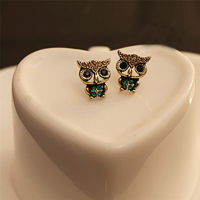 Vintage Owl Rhinestone Stud Earrings