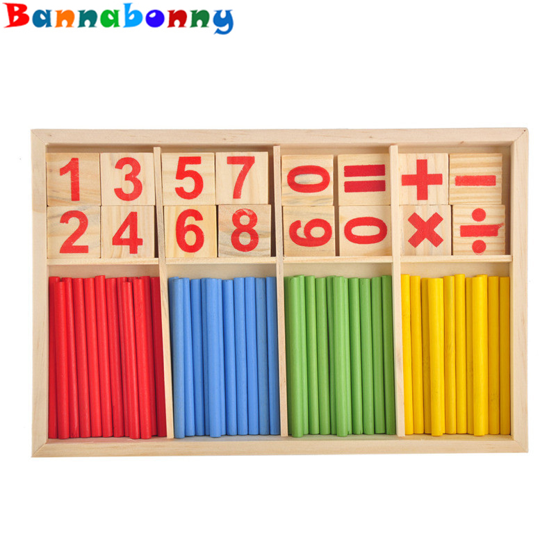 colorful Baby Toys Counting Sticks Education Wooden Building Intelligence Blocks Montessori Mathematical Wooden Box Child Gift baby toys montessori pink tower wooden toys building blocks educational 1 10cm cube blocks teaching set child gift