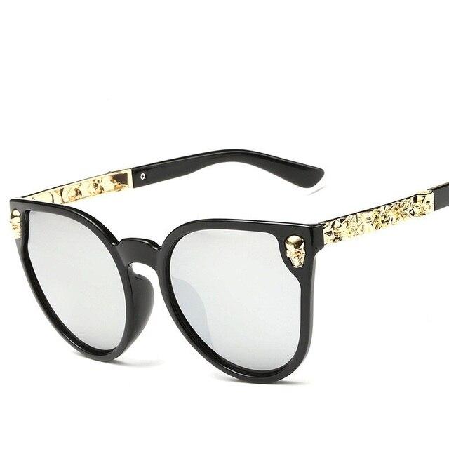 e6b42f0e92a4 High Quality Vintage Skull Sunglasses Big Frame Metal Crave Sunglasses Brand  Designer Women Fashion Eyeglasses UV400 Eyewear