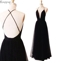 Simple Long Evening Dress 2017 Sexy A-line V-neck Spaghetti Strap Women Formal Gowns Backless Black Evening Gowns