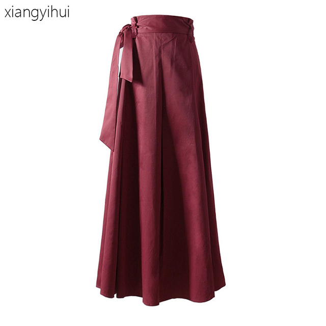 0bb046c5715 Retro Elegant Long Pleated Skirt Women Big Sewing High Waist Maxi Skirts  Women s Fashion Autumn Bowknot Tulle Black Wine Red