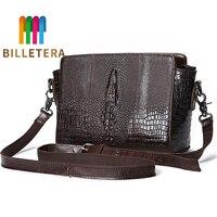 BILLETERA Oil Wax Cowhide Women Sling Messenger Shoulder Bags Crocodile Pattern Ladies Briefcase Genuine Leather Cross Body