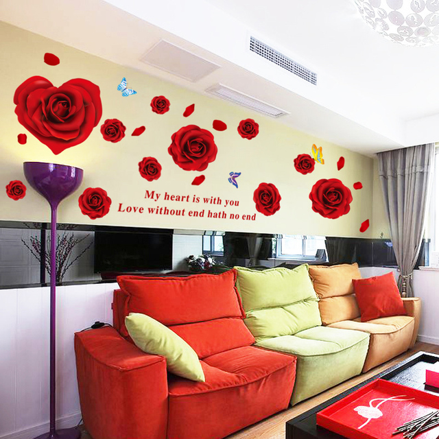 1pc rose flowers butterfly love quotes wall stickers tv background 1pc rose flowers butterfly love quotes wall stickers tv background room diy home decor decals mural junglespirit Image collections