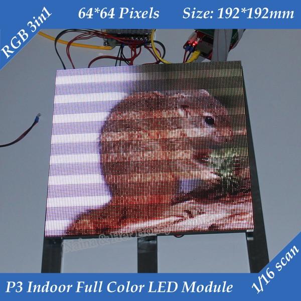 Livraison gratuite 1/16 Scan 3in1 RGB P3 Module de écran LED hd publicitaire polychrome intérieur 192*192mm 64*64 pixels
