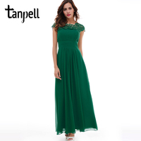 Tanpell Long Evening Dress Hunter Scoop Lace Appliques Cap Sleeves A Line Floor Length Dress Lady