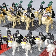 10Set/Lot Castle Knights Skeleton Reaper Medieval Skeleton Horses building Bricks 9462 assemble Blocks kid Toys NEW