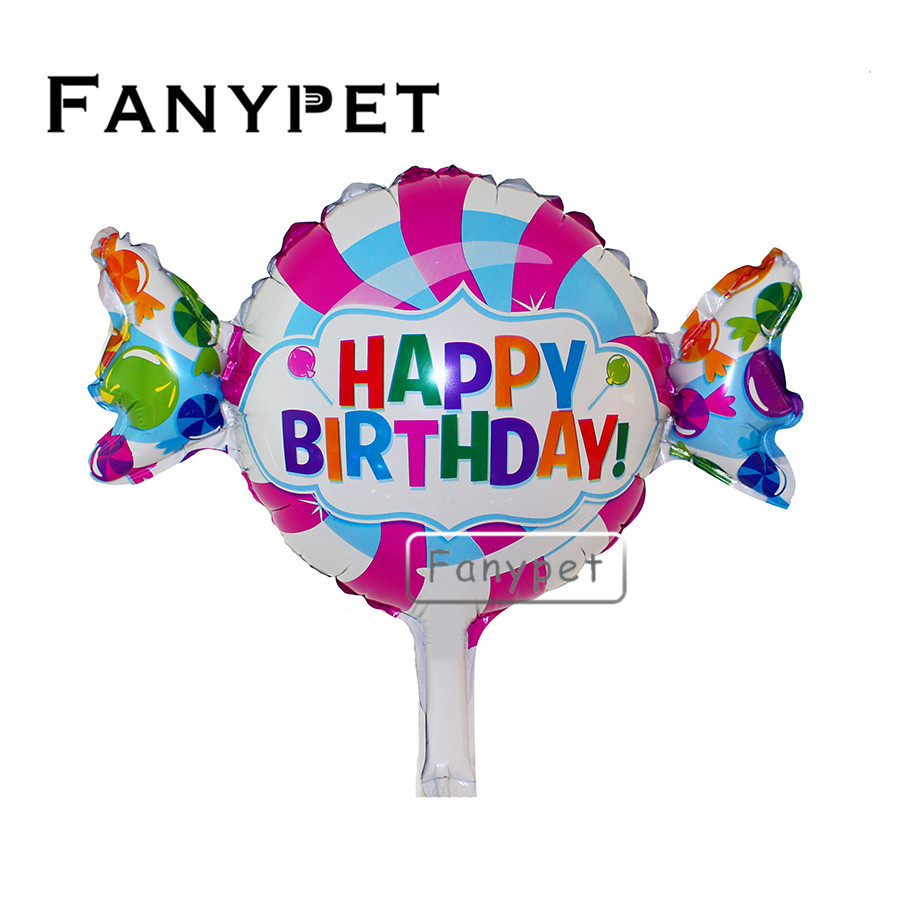 50pcs/lot Mini Happy Birthday Sweet Shop Foil Balloons Cartoon Design Candy Balloon Kids Baby Shower Birthday Party Supplies