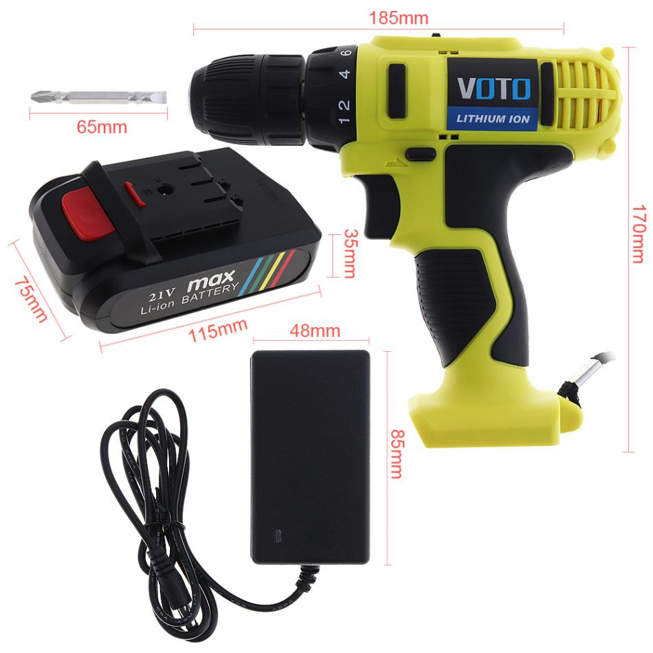 VOTO 21V additional lithium ion Battery Cordless Electric drill hole electrical Screwdriver hand driver Wrench power tools-in Electric Drills from Tools    3