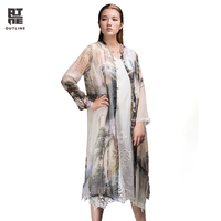 Outline Summer Women Organza Blouse Poncho Printing Long Shirts Button Split Shirt Plus Ladies Sunscreen Thin
