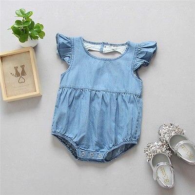 2017 Peuter Kids Baby Meisjes Kleding Blauw Denim Bodysuit Jumpsuit Outfits Sunsuit Kleding 0-24 M Bevorder De Productie Van Lichaamsvloeistof En Speeksel
