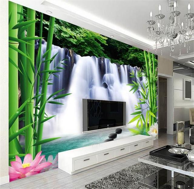 Benutzerdefinierte 3d Foto Tapete Wallpaper Bambus Wasserfall Sofa