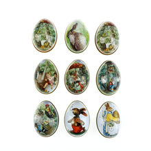 Random send Easter Eggs Shaped Candy Box Easter Bunny Chick Printing Alloy Metal Trinket Tin Tinplate Case Party Decoration(China)