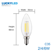 LUCKY Led Bulb E27 Dimmable 2w 4w 6w 8w E14 Led Candle Light Bulb 110v 220v Vintage Filament Lamp For Chandelier Lighting .