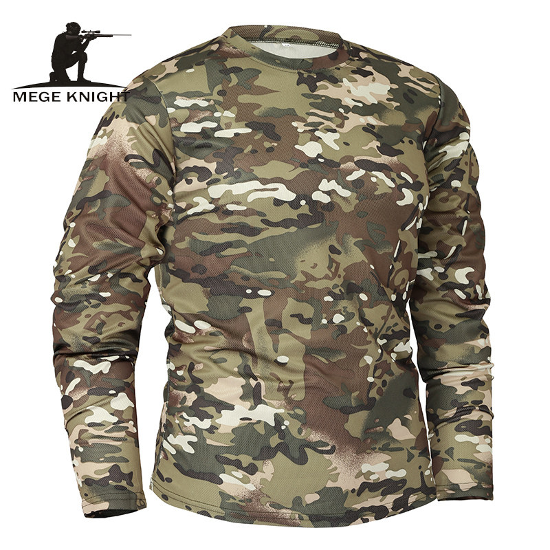 Mege Brand Clothing New Autumn Spring Men Long Sleeve Tactical Camouflage T-shirt camisa masculina Quick Dry Military Army shirt 5