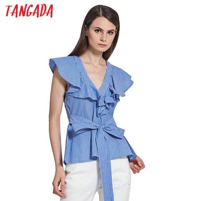 7c2d7fc191a9 US $11.93 |Tangada Sommer Frauen Mode Gestreiften Rüschen Blusen  Schmetterling Hülse Zurück Fliege Shirts 2017 Weibliche Casual Blusas  Kühlen Tops ...