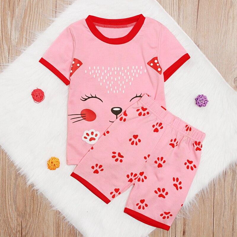 Haben Sie Einen Fragenden Verstand Rorychen Kinder Nachtwäsche Baby Kleidung Neue Sommer Mädchen Pyjamas Sets Pijama Infantil Pyjamas Kinder 100% Baumwolle Karton Nachtwäsche Angenehm Zu Schmecken