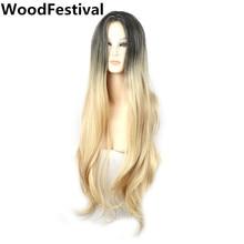 Kadın düz ombre uzun sarışın peruk koyu kökleri sarışın saç cosplay kadın sentetik peruk isıya dayanıklı fiber WoodFestival