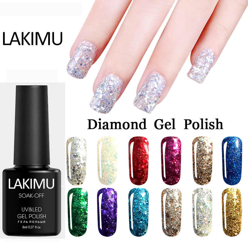 LAKIMU 3D Diamante 20 Cores Gel Nail Polish Long-lasting para Nails Art Glitter Soak Off Gel UV Do Prego vernizes de Gel Unha polonês