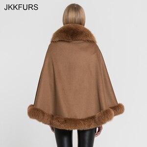 Image 3 - JKKFURS Womens Real Fur Poncho Genuine Fox Fur Collar Trim & Wool Cashmere Cape Fashion Style Winter Warm Coat S7358